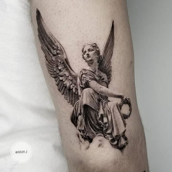 Angel Dotwork Statue Tattoo by Dot Ink Group
