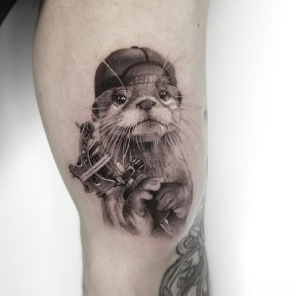 Arm Dotwork Tattoo Machine Animal Cap Tattoo by Dot Ink Group
