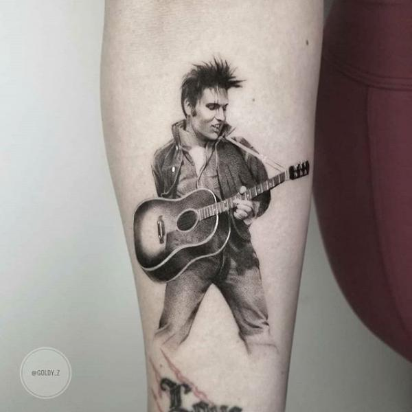 Arm Portrait Dotwork Elvis Tattoo by Dot Ink Group