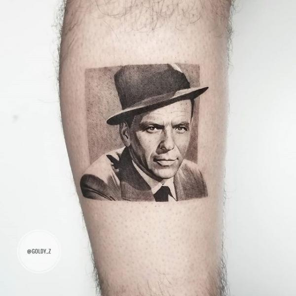 Arm Portrait Dotwork Frank Sinatra Tattoo by Dot Ink Group