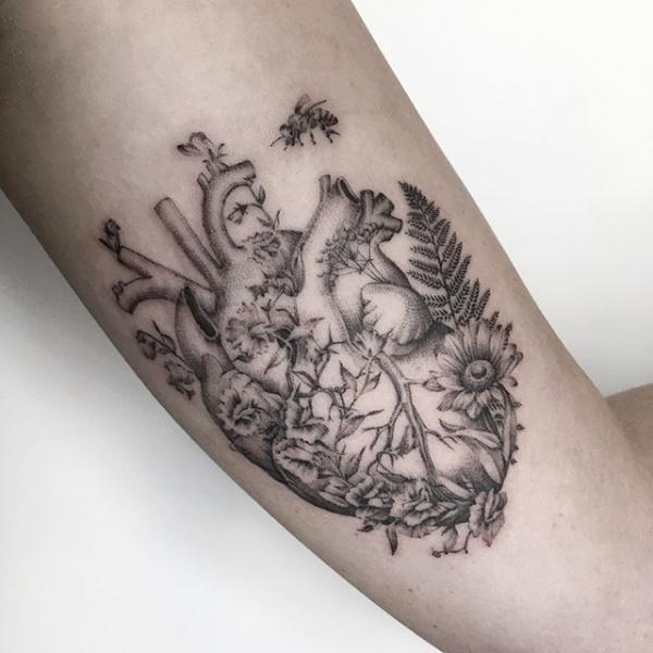 Arm Heart Flower Dotwork Tattoo by Dot Ink Group
