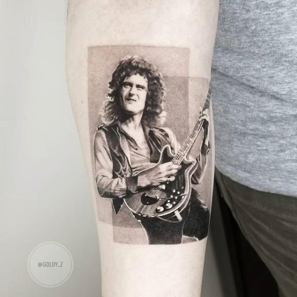 Portrait Dotwork Brian May Tattoo by Dot Ink Group