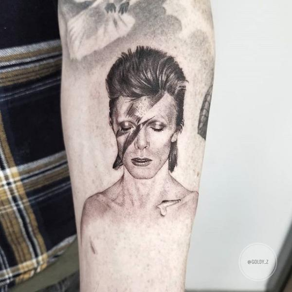 Portrait Dotwork David Bowie Tattoo by Dot Ink Group