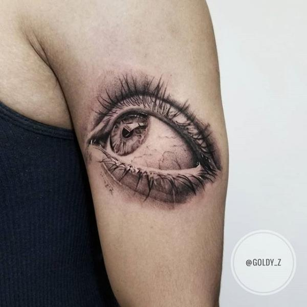 Realistic Eye Dotwork Tattoo by Dot Ink Group
