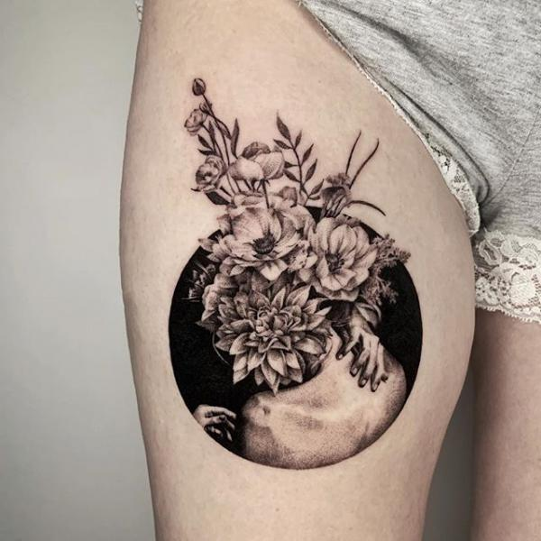 Flower Dotwork Tattoo by Dot Ink Group