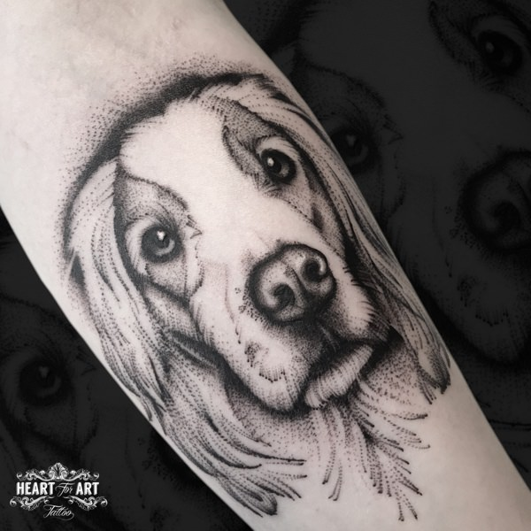 Arm Dog Dotwork Tattoo by Heart of Art
