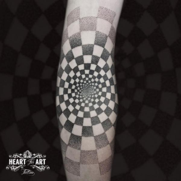 Arm Dotwork Optical Tattoo by Heart of Art