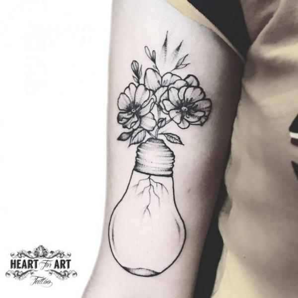 Arm Flower Light Bulb Tattoo by Heart of Art