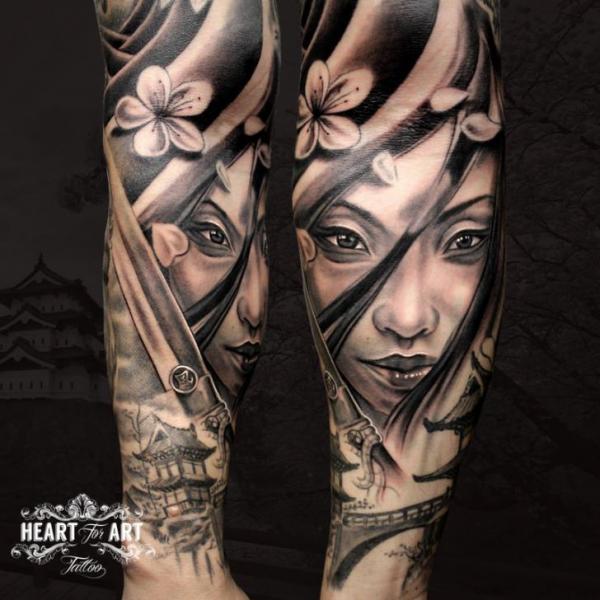 Arm Geisha Tattoo by Heart of Art