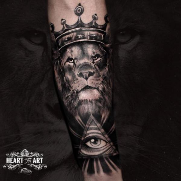 Arm Eye Lion Crown Triangle Tattoo by Heart of Art