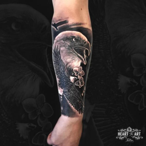 Arm Realistic Eagle Tattoo by Heart of Art