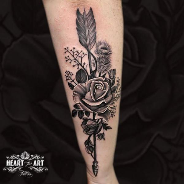 Arm Rose Leaf Arrow Tattoo by Heart of Art