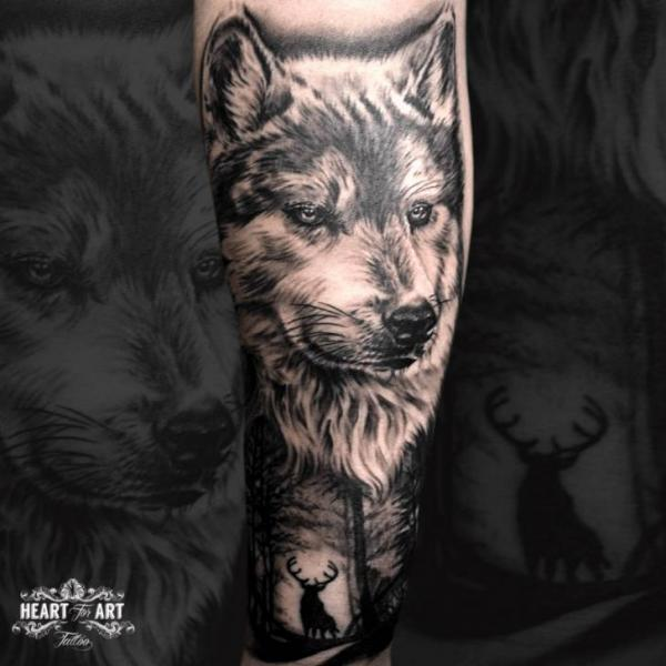 Arm Wolf Tattoo by Heart of Art