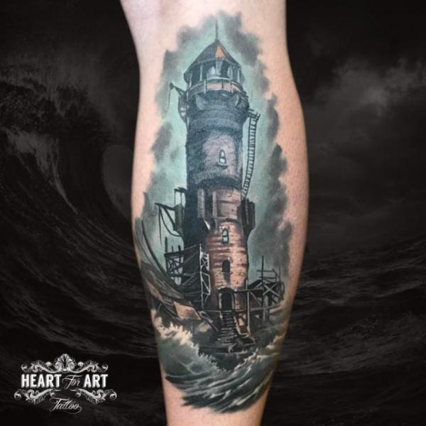 Calf Lighthouse Sea Tattoo by Heart of Art