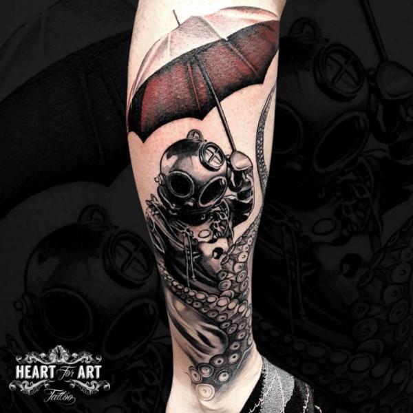 Calf Octopus Umbrella Tattoo by Heart of Art