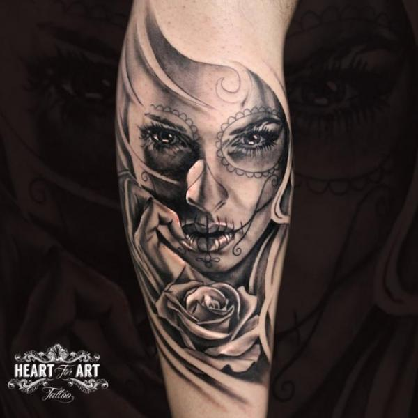 Calf Rose Woman Tattoo by Heart of Art