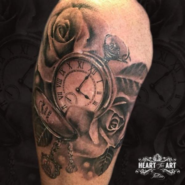 Shoulder Clock Rose Tattoo by Heart of Art