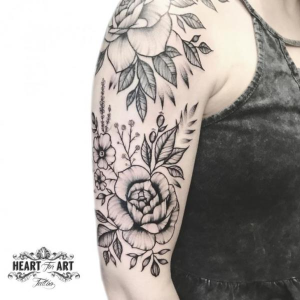 Shoulder Arm Flower Dotwork Tattoo by Heart of Art