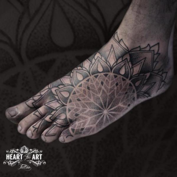 Foot Dotwork Mandala Tattoo by Heart of Art