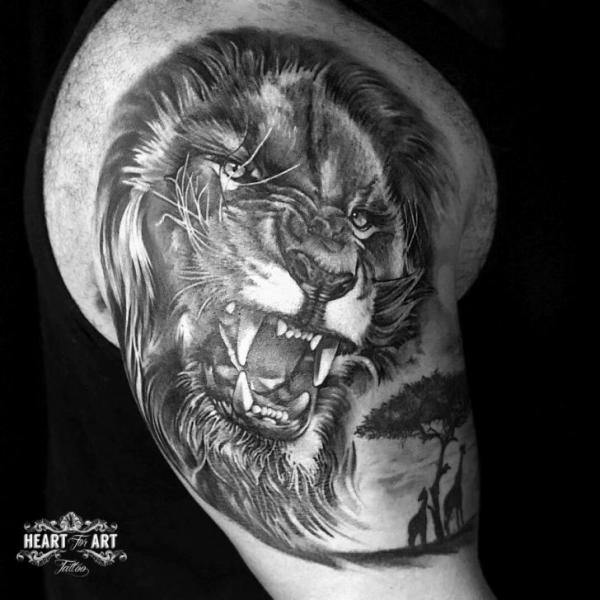 Shoulder Realistic Lion Tattoo by Heart of Art