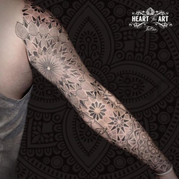 Dotwork Sleeve Mandala Tattoo by Heart of Art