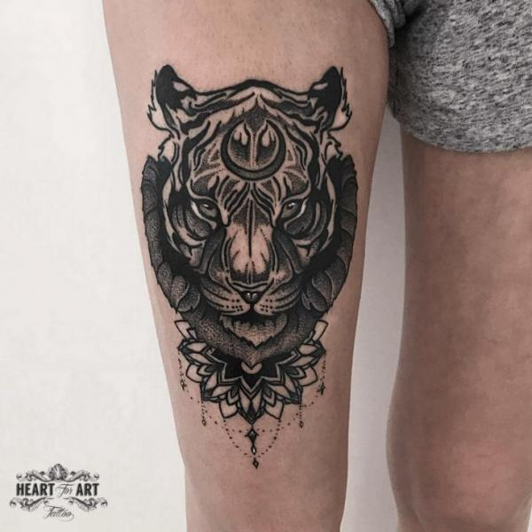 Tiger Thigh Tattoo by Heart of Art