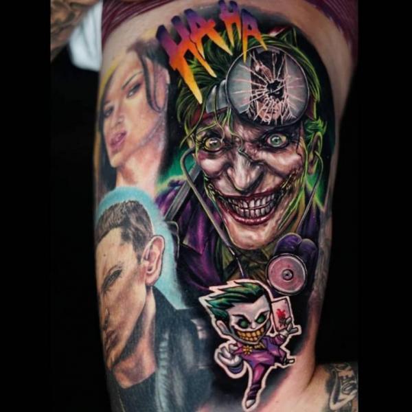 Tatuaggio Braccio Joker di Sabian Ink