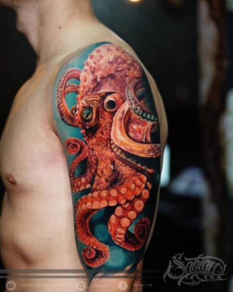 Shoulder Arm Realistic Octopus Tattoo by Sabian Ink