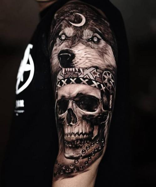Arm Skull Wolf Tattoo by Sabian Ink