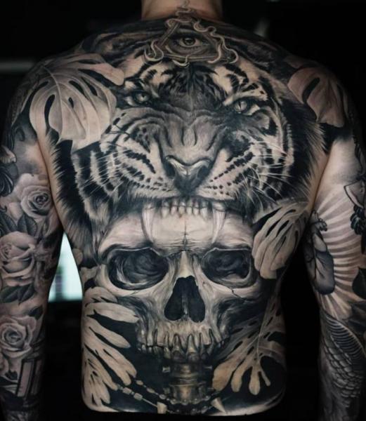 Realistic Skull Back Tiger Leaf Tattoo by Sabian Ink