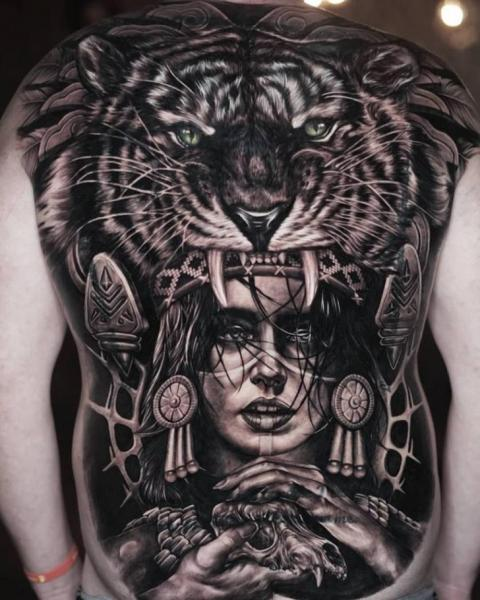 Realistic Back Tiger Indian Woman Tattoo by Sabian Ink