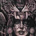 tatuaggio Realistici Schiena Tigre Indiani Donna di Sabian Ink