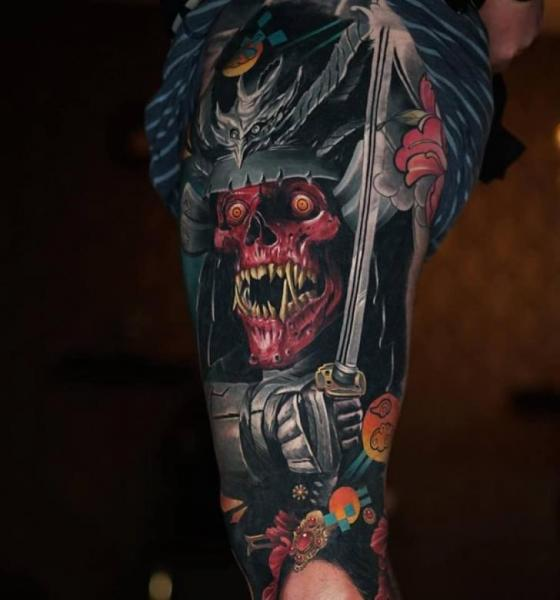 Leg Skull Sword Tattoo by Sabian Ink