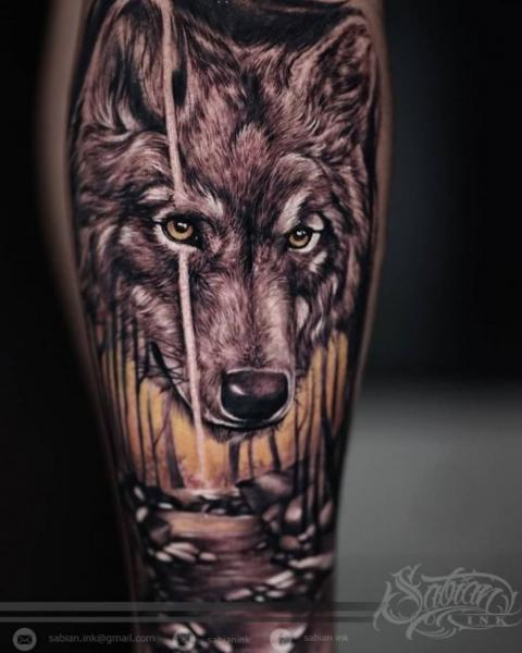 Realistic Wolf Tattoo by Sabian Ink