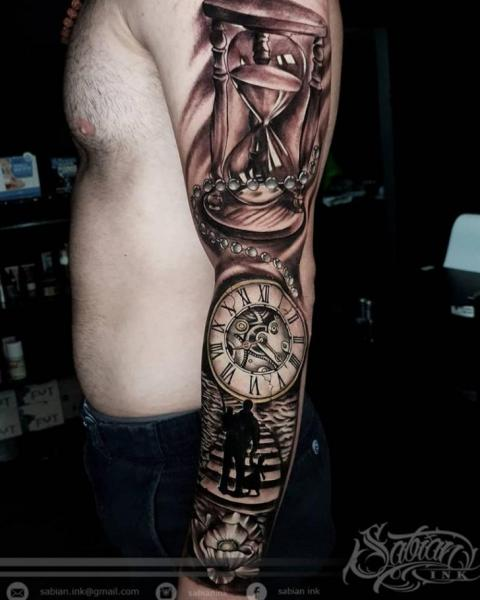 Clock Clepsydra Sleeve Tattoo by Sabian Ink