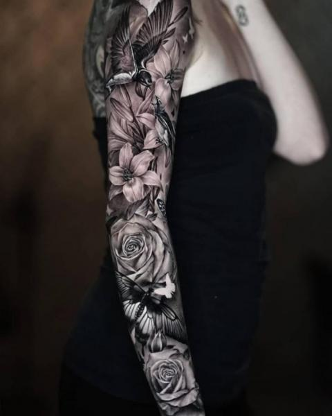 Flower Bird Sleeve Tattoo by Sabian Ink