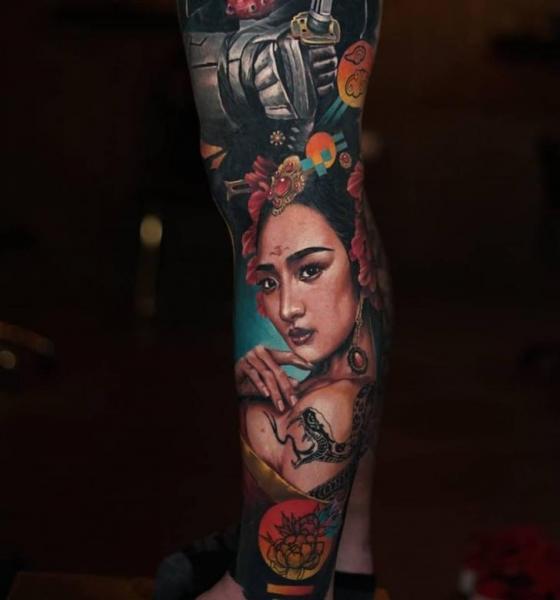 Realistic Geisha Sleeve Tattoo by Sabian Ink