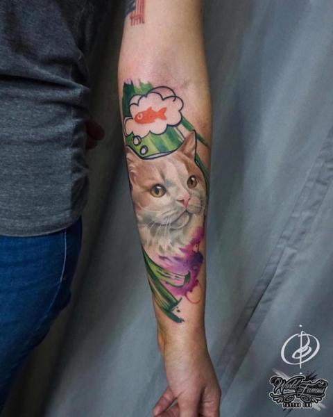 Arm Cat Tattoo by Daria Pirojenko