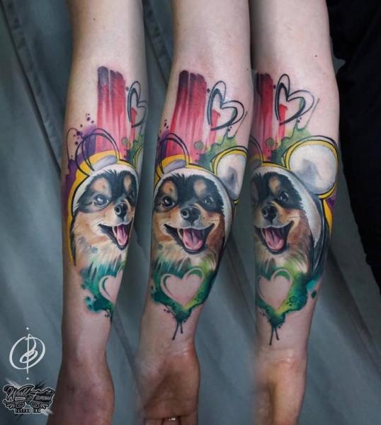 Arm Hund Tattoo von Daria Pirojenko