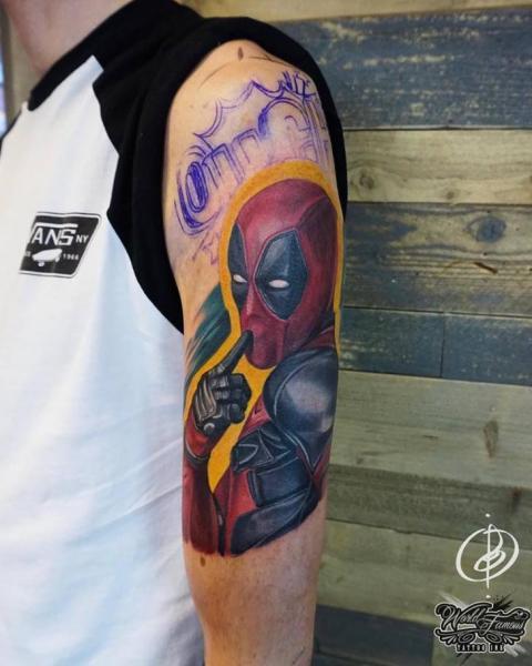 Arm Hero Deadpool Tattoo by Daria Pirojenko