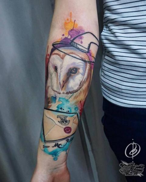 Arm Owl Letter Tattoo by Daria Pirojenko