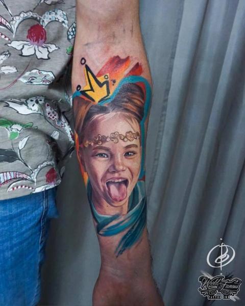 Arm Portrait Woman Tattoo by Daria Pirojenko