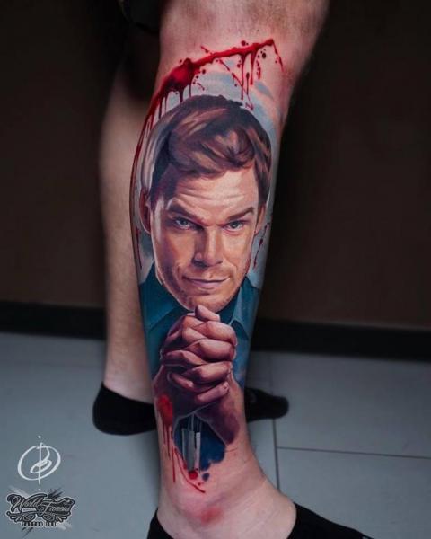 Portrait Realistic Calf Dexter Tattoo by Daria Pirojenko