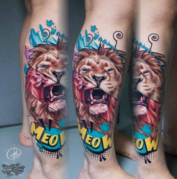Calf Leg Lion Tattoo by Daria Pirojenko