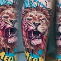 Calf Leg Lion tattoo by Daria Pirojenko