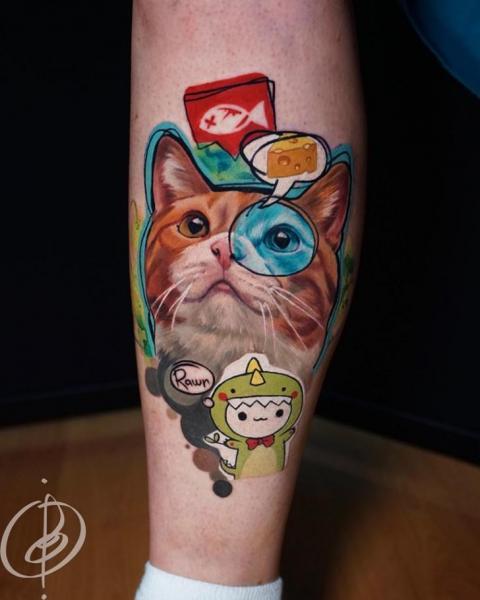 Bein Katzen Tattoo von Daria Pirojenko