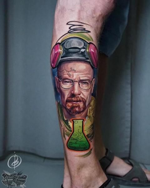 Portrait Leg Breaking Bad Walter White Tattoo by Daria Pirojenko