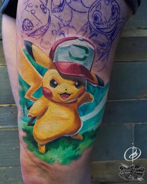 Character Thigh Pokemon Tattoo by Daria Pirojenko