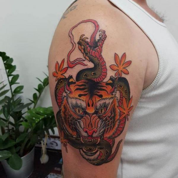 Arm Snake Japanese Tiger Tattoo by Plan9 Ealing