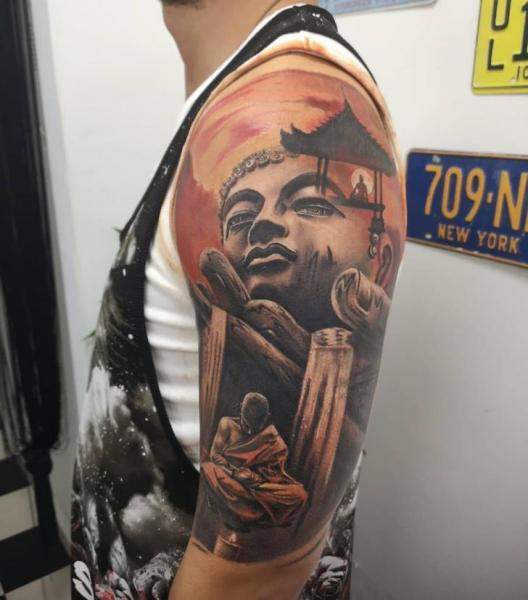 Shoulder Arm Buddha Religious Tattoo by Plan9 Ealing